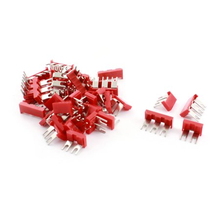 Unique Bargains 40 x Red PVC Pre Insulated Fork Shaped Terminal Jumper Block Connector Strip