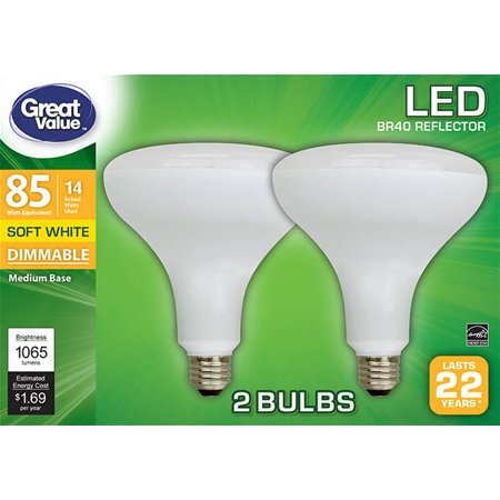Great Value LED Light Bulb, 14W (85W Equivalent) BR40 Reflector Lamp E26 Medium Base, Dimmable, Soft White, (Br40 Medium Base Frost Reflector)