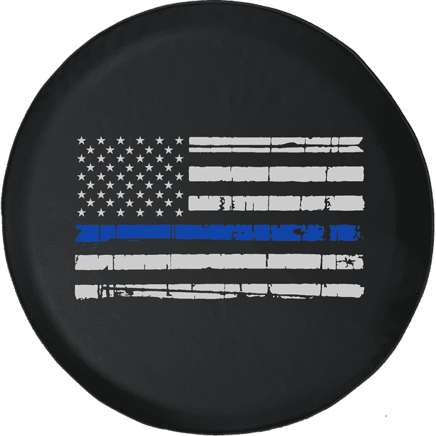 SUV Truck and Many Vehicle Camper Accessories CENSIHER Spare Tire Cover American Flag Blue Line Waterproof Dust-Proof Universal Spare Wheel Tire Cover Fit for Jeep,Trailer RV