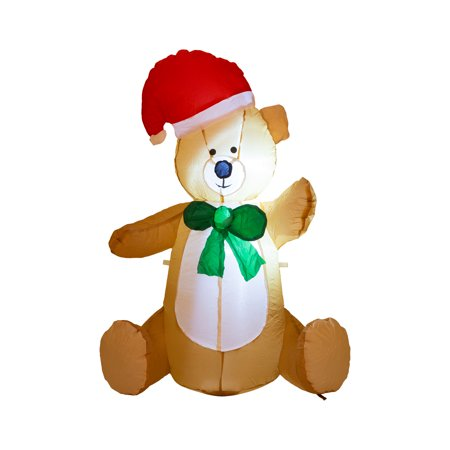 Glitzhome Christmas Event Outdoor 2.95FT H Lighted Inflatable little Bear Décor (Inflatable Bear)