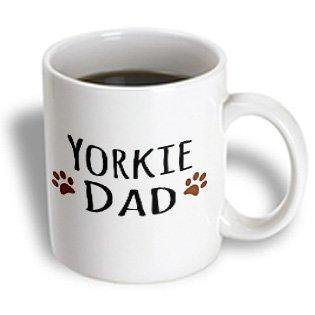 3dRose Yorkie Dog Dad - Yorkshire Terrier - Doggie by breed - doggy lover brown paw prints - pet owner, Ceramic Mug, 11-ounce