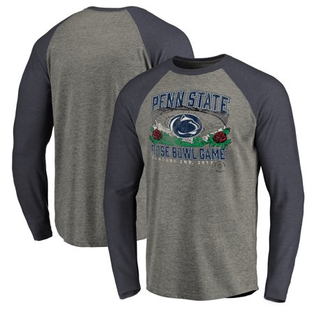Penn State Nittany Lions Fanatics Branded 2017 Rose Bowl Bound Prime Raglan Long Sleeve T-Shirt - Heather Gray/Navy
