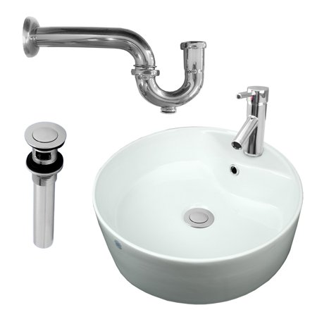 Bathroom vessel sink faucet p trap drain incl reno for Bathroom p trap height