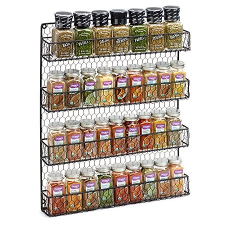 Black 4 Tier Country Metal Chicken Wire Spice Rack from 1790, Cabinet, Wall, or Pantry Mount - This Rustic Hanging Organizer is Tiered for Maximum Storage -Up To 32 Herbs