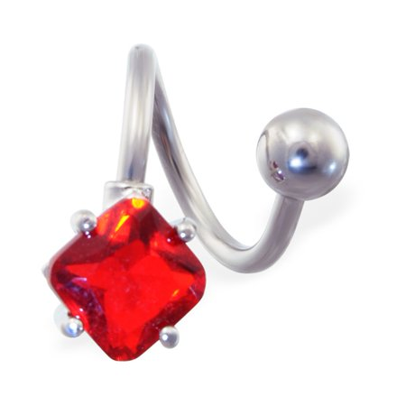 - Twister Barbell With Ruby Red Diamond Shaped End, 14 Ga