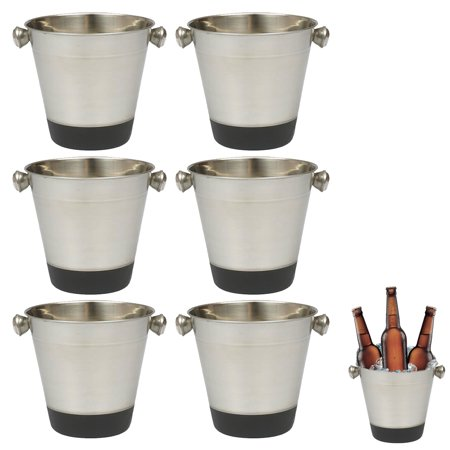 6 Set Stainless Steel Ice Bucket Cooler Champagne Wine Bar Restaurant Drink 40oz