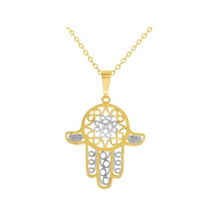 Two Tone Hamsa Hand Necklace Pendant Protection Jewish Amulet (Jewish Protection)
