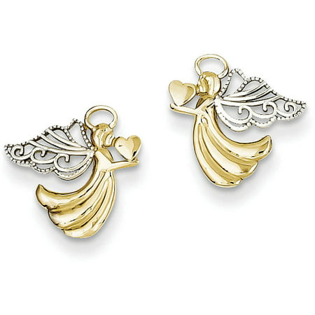Primal Gold 14 Karat Yellow Gold and Rhodium-plated Angel with Heart Post Earrings