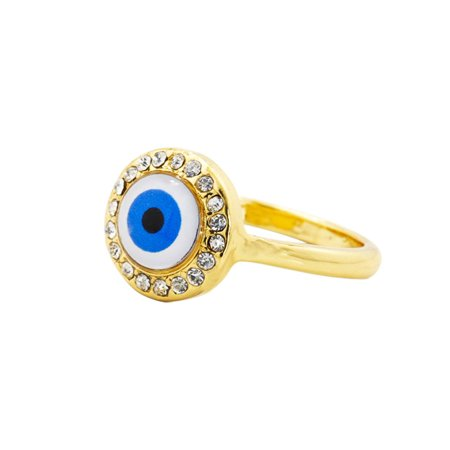 18k Gold Plated Clear Crystal Turkish Nazar Greek Evil Eye Ring