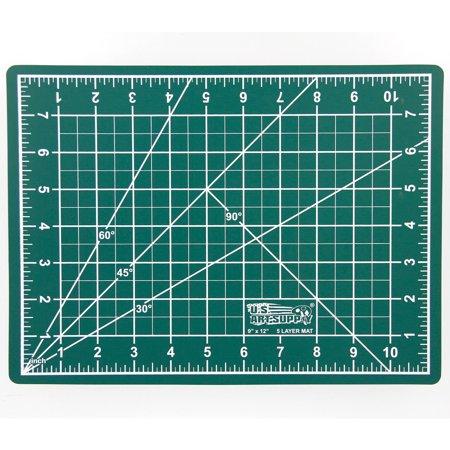 "9"" x 12"" GREEN/BLACK Self Healing 5-Ply Double Sided Durable PVC Cutting Mat"