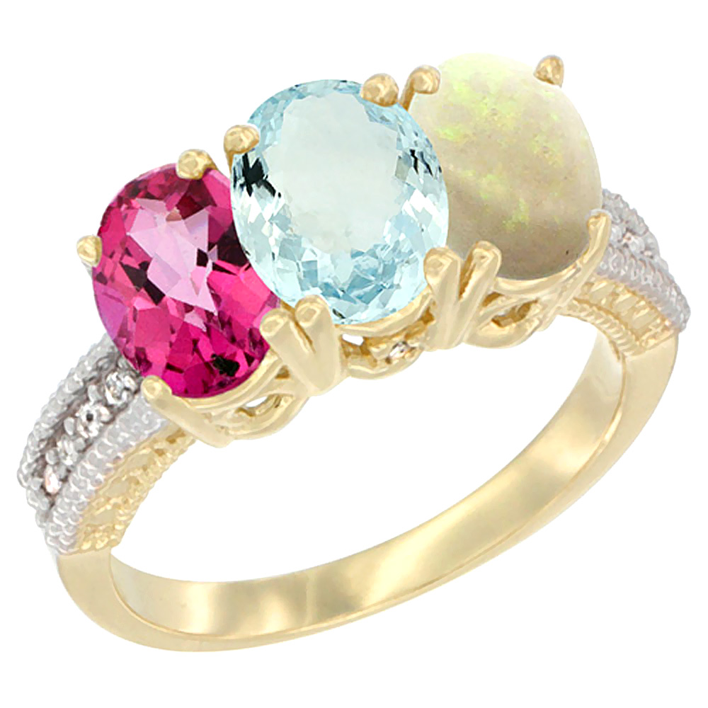 14K Yellow Gold Natural Pink Topaz, Aquamarine & Opal Ring 3-Stone 7x5 mm Oval Diamond Accent, sizes 5 10 by WorldJewels