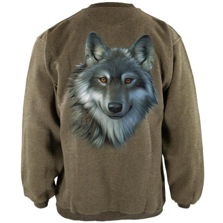 Timber Wolf Face Henley Mens Pullover Sweatshirt](Wolf Hoodie With Ears For Men)