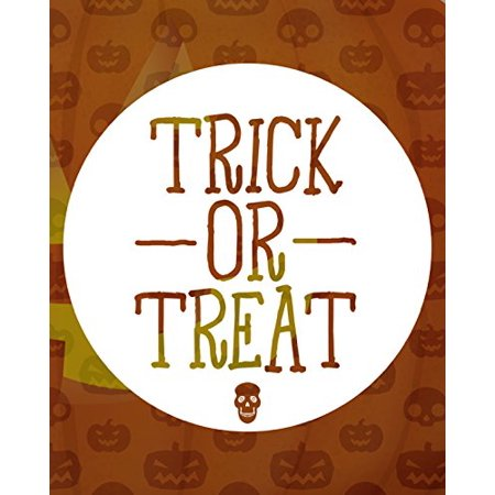 Trick Or Treat Print Witches Candy Corn Pumpkin Background Skeleton Picture Halloween Decoration Wall Hanging Seasonal Poster