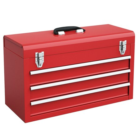 Little Red Tool Box - Portable Tool Chest Box Storage Cabinet Garage Mechanic Organizer 3 Drawers Red