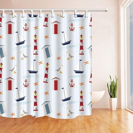 BPBOP Cartoon Lighthouse Ship Polyester Fabric Bathroom Shower Curtain 66x72 Inches
