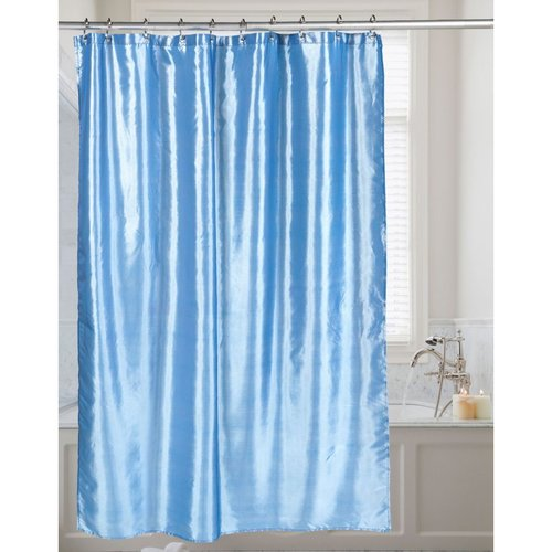 Carnation Shimmer Faux-Silk Shower Curtain - Slate Blue