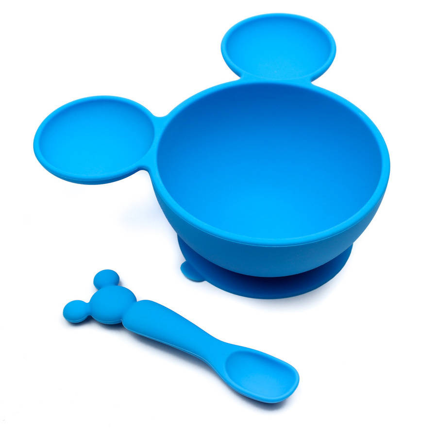Bumkins Disney Baby Silicone Suction Bowl and Spoon - Mickey Mouse