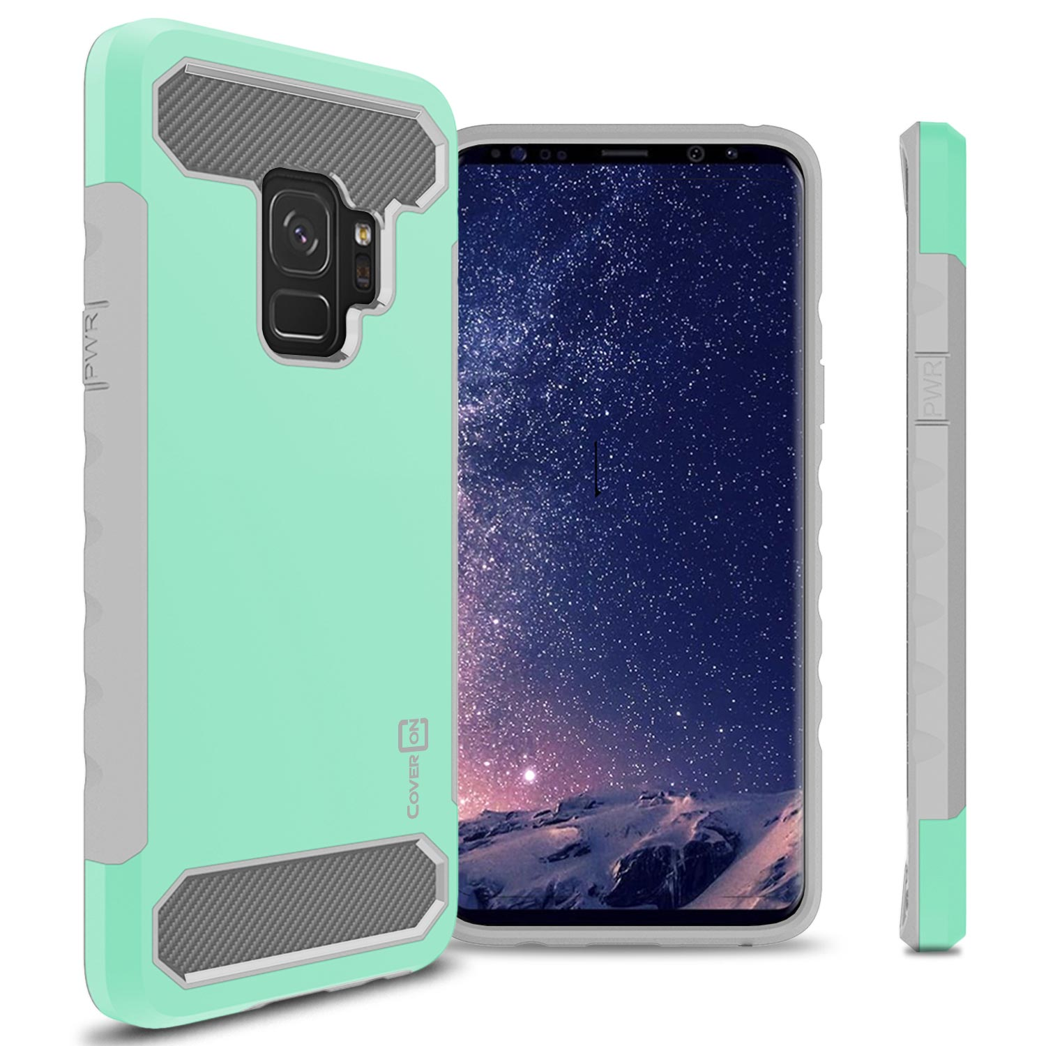 CoverON Samsung Galaxy S9 Case, Arc Series Hybrid Phone Cover with Carbon Fiber Accents