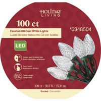 b361899e254 Product Image Holiday Living 100-Count 45-ft Cool White LED Faceted C9 Christmas  String Lights