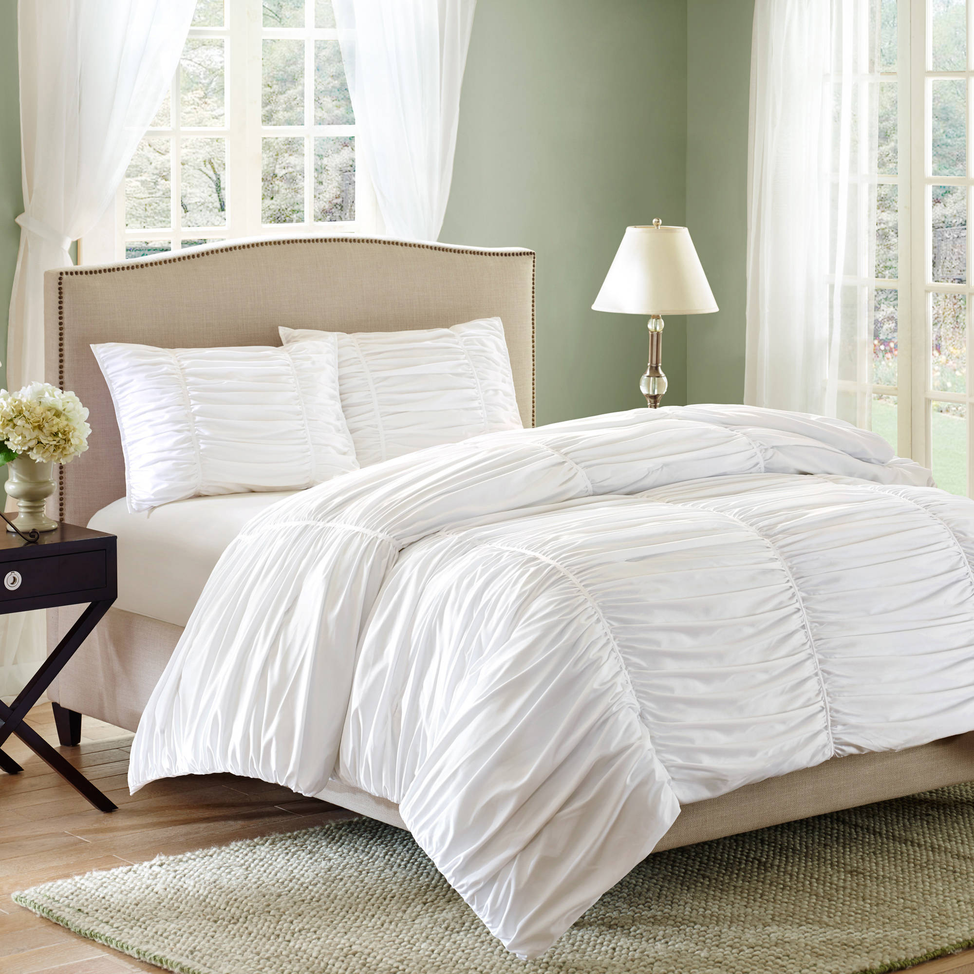 Better Homes and Gardens Ruched 3 Piece Bedding Comforter Mini Set