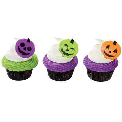 Spooky Halloween Pumpkin Heads Orange Purple Green -24pk Cupcake / Desert / Food Decoration Topper Picks with Favor Stickers & Sparkle Flakes](Cheap Halloween Party Food)