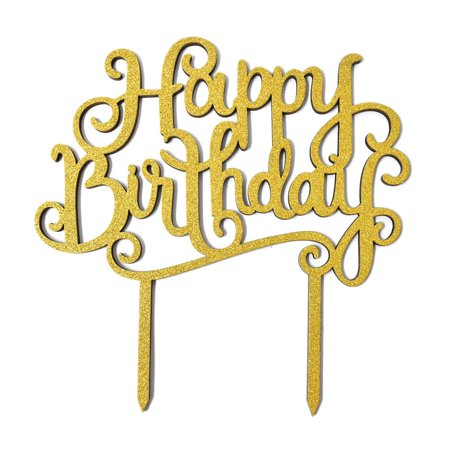 Happy Birthday Glitter Cake Topper, 6-Inch, Gold (Happy Halloween Cake)