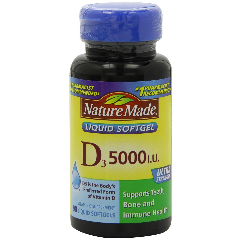 Nature Made Vitamin D3 Ultra Strength 5000Iu, 90 CT (Pack of 3)