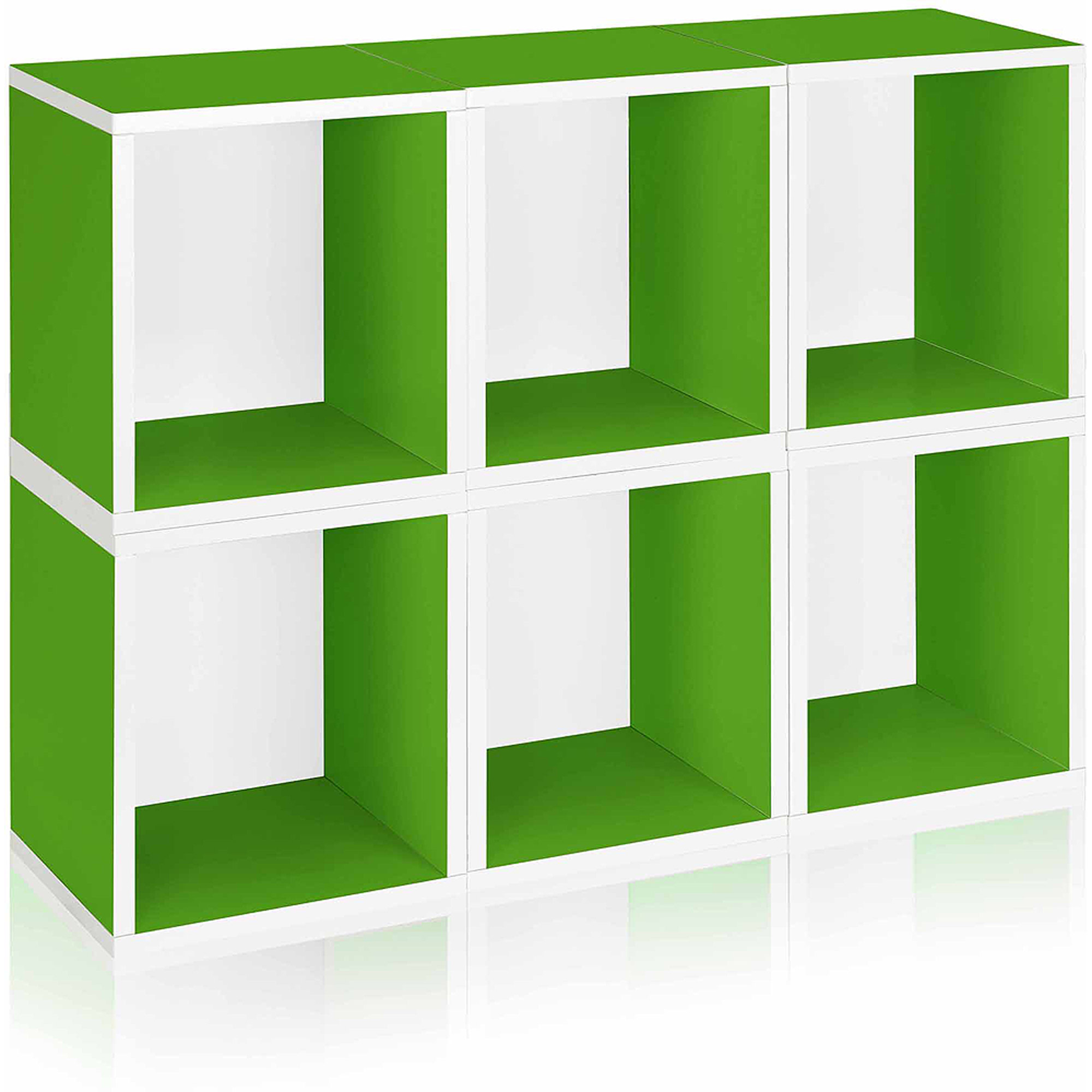 Way Basics Eco Stackable Modular Storage Cubes Plus, Green, 6-Pack
