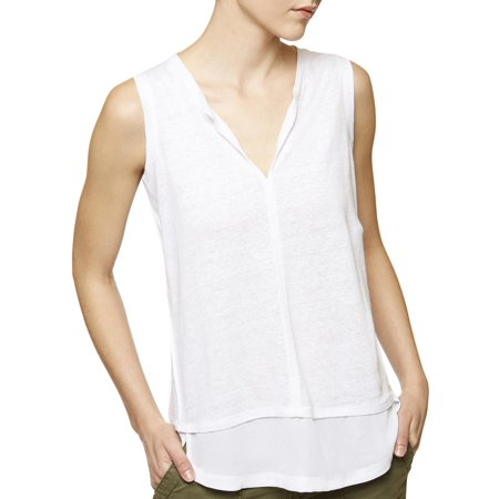 Sanctuary Womens City Burnout Chiffon Trim Tank Top (Butterfly Burnout Top)