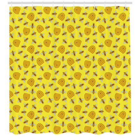 Bee Shower Curtain Beekeeping Beeswax Vespiary Concept Print With Bees And Honeycombs In Nature Elements