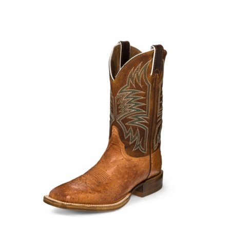 Justin Western Boot Men Smooth Quill Ostrich Sq Toe 10.5 D Cognac 5250