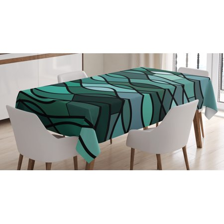 Teal Tablecloth, Abstract Mosaic Waves Ocean Inspired Expressionist Pattern Marine Design Image, Rectangular Table Cover for Dining Room Kitchen, 60 X 84 Inches, Dark Green Aqua, by Ambesonne