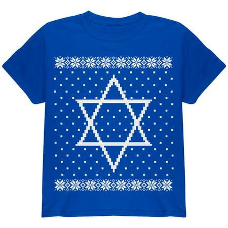 Big Star of David Ugly Hanukkah Sweater Youth T Shirt