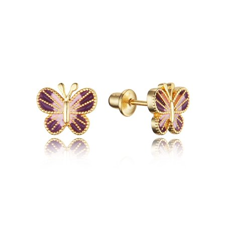 14k Gold Plated Enamel Butterfly Baby Girls Earrings with Sterling Silver Post
