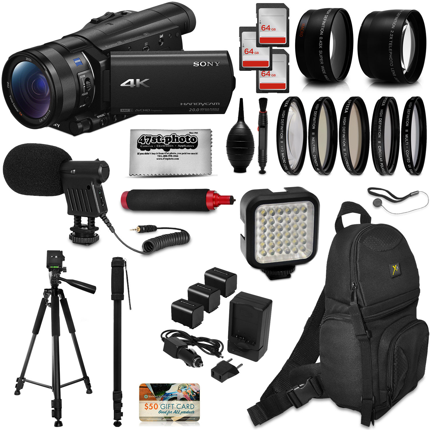 Sony FDR-AX100 4K Ultra HD Camcorder Video Camera + 192GB Memory + Backpack + Mic + Telephoto & Wide Angle... by 47th Street Photo