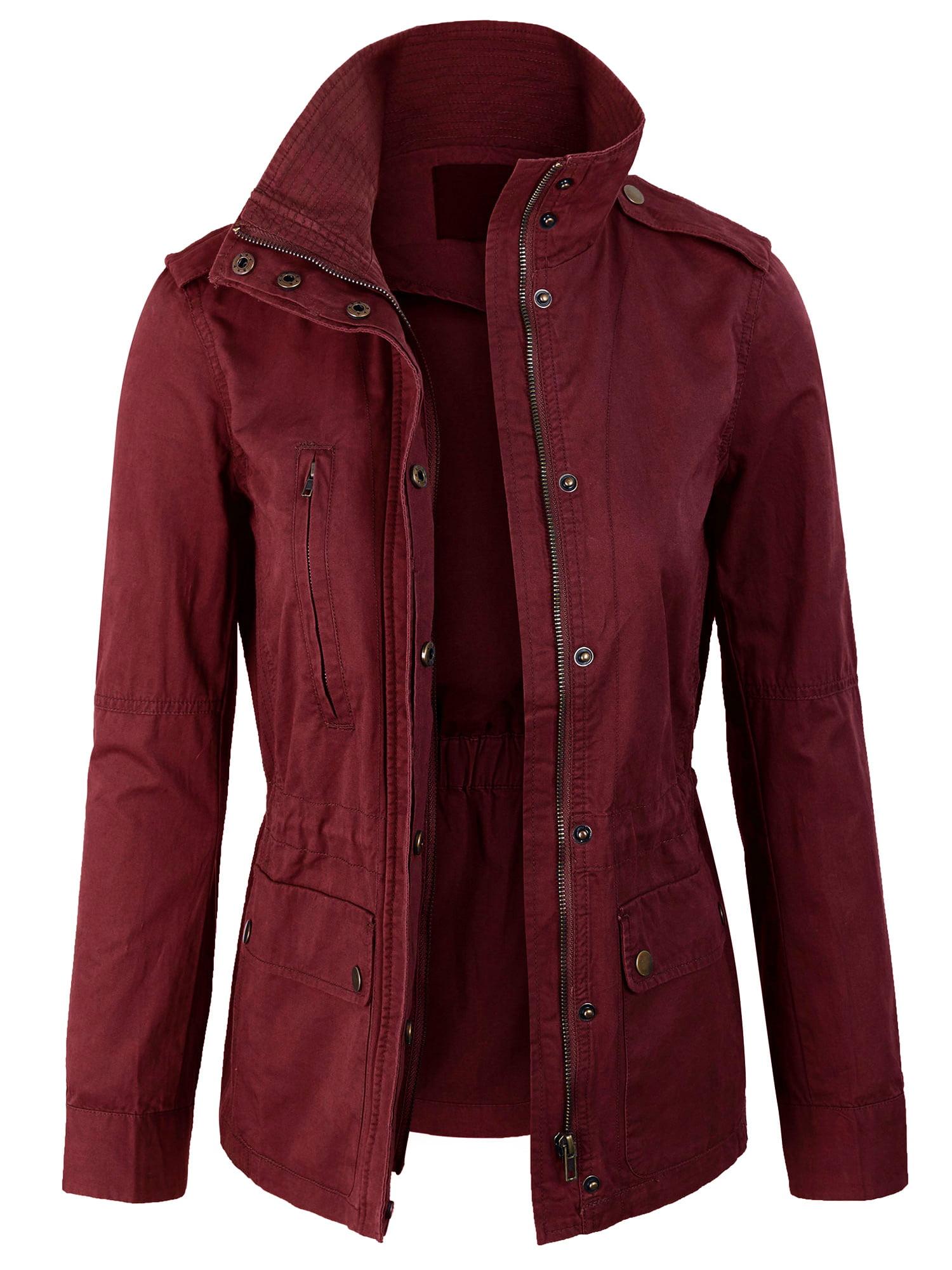 Womens Zip Up Military Anorak Safari Jacket Coat