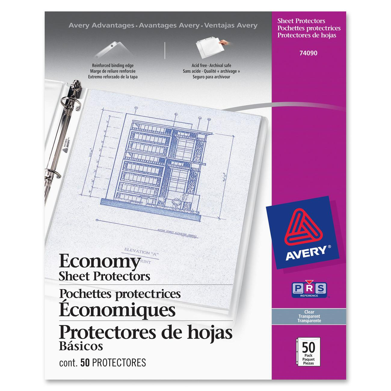 avery economy clear sheet protectors acid free 50 protectors