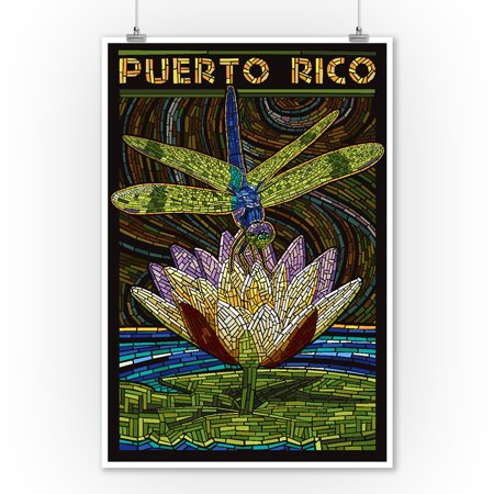 Puerto Rico - Dragonfly Mosaic - Lantern Press Artwork (9x12 Art Print, Wall Decor Travel Poster)