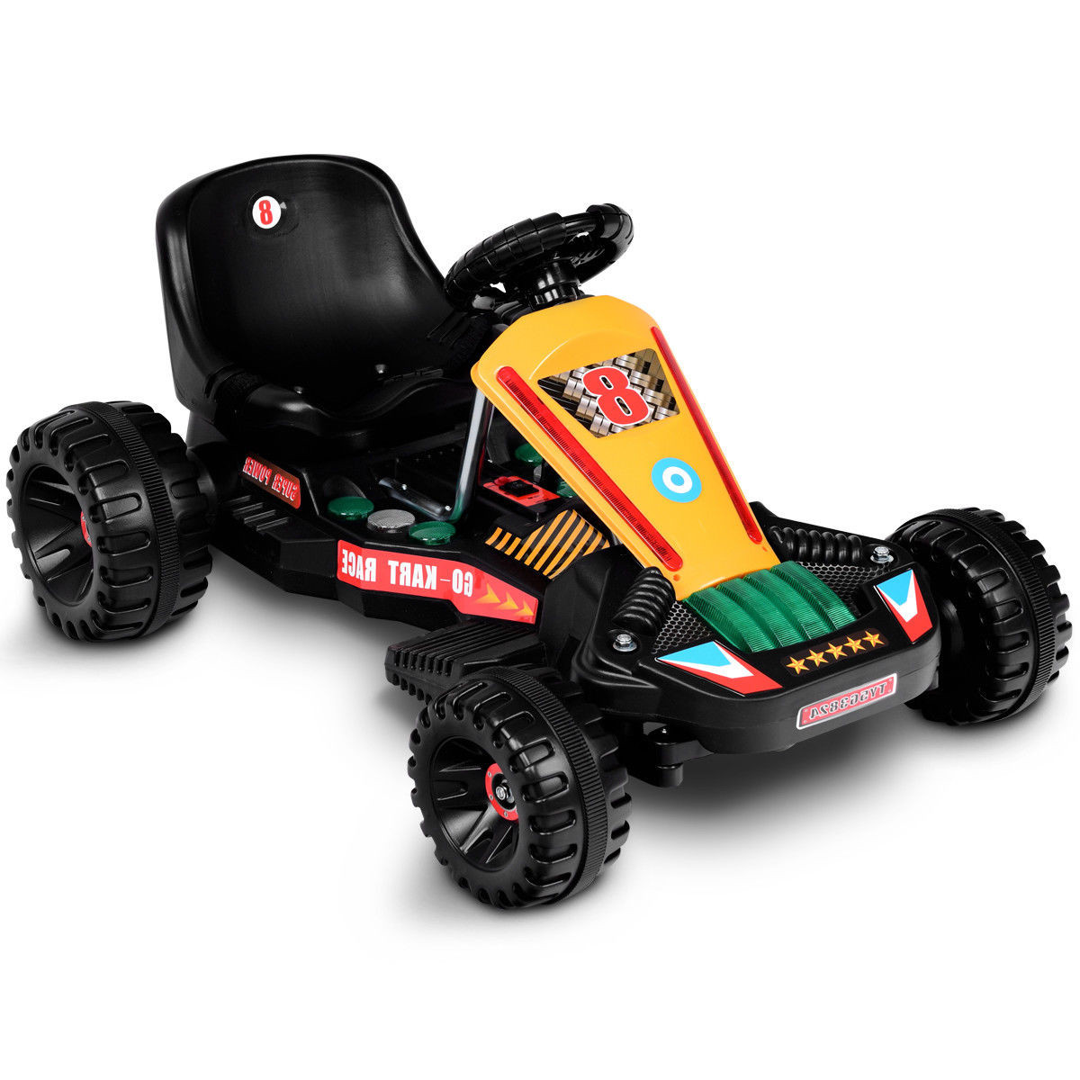 Gymax Go Kart Kids Ride On Car Electric Ed 4 Wheel Racer Buggy Toy