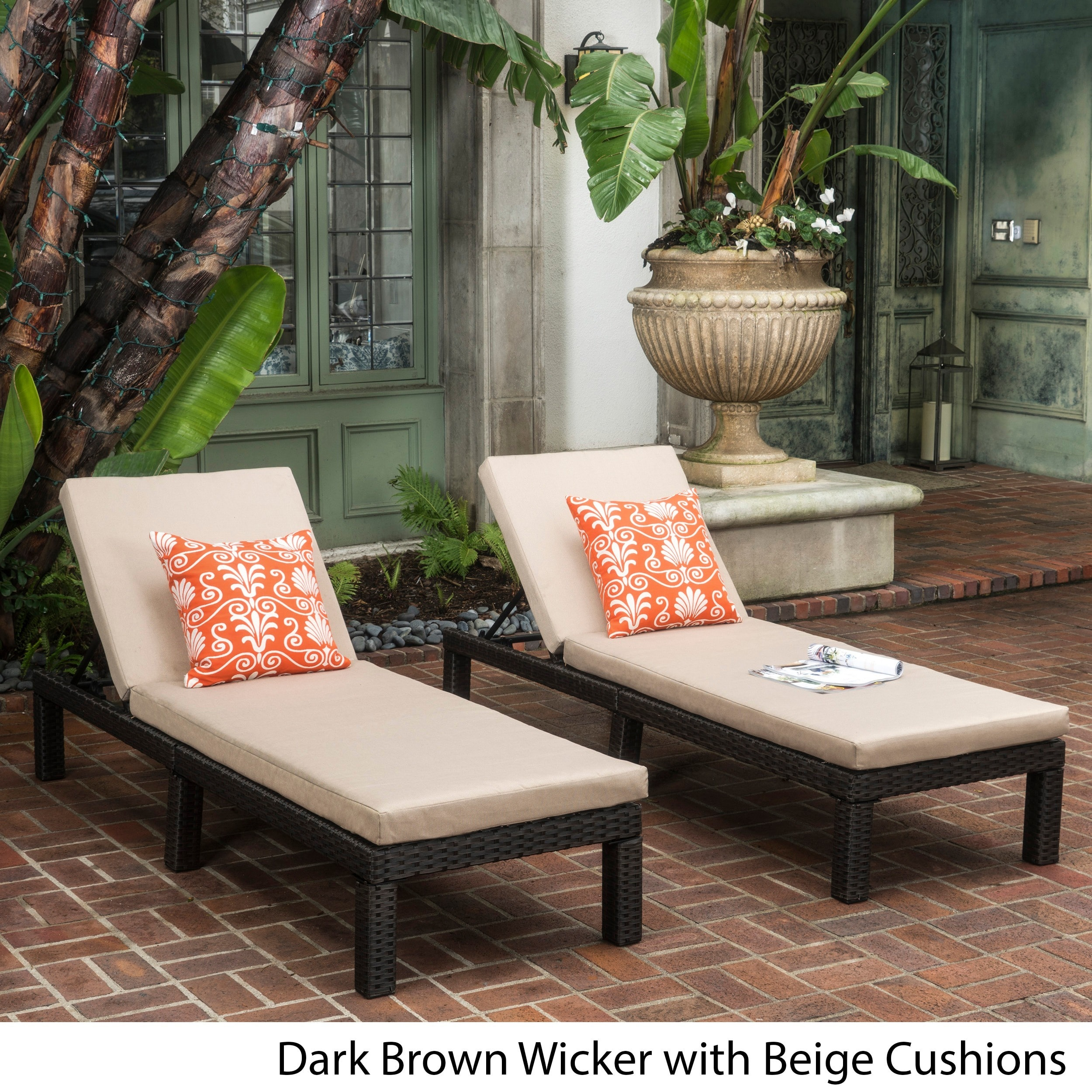 Christopher Knight Home Puerta Outdoor Adjustable PE Wicker Chaise Lounge with Cushion by  (Set of 2)