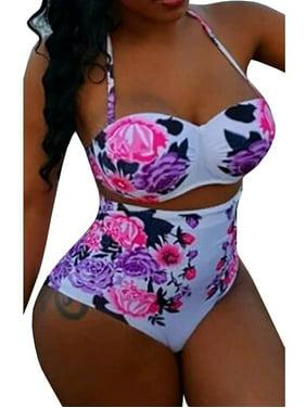 High Waist Plus Size Women Floral Print 2 Pieces Bikini Set