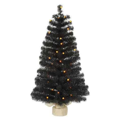 3.5' Pre-Lit Black Pine Artificial Christmas Tree - Orange LED Lights