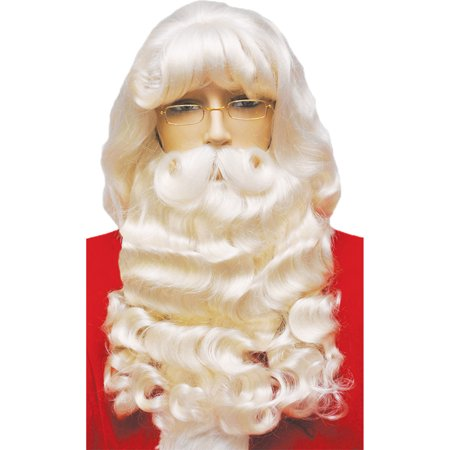 Morris Costumes Beautiful Kanekalon Rental Quality Santa Set With Must, Style LW66WT - Costume Rentals