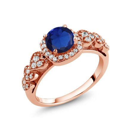 1.07 Ct Round Blue Simulated Sapphire 18K Rose Gold Plated Silver Ring - image 4 de 4