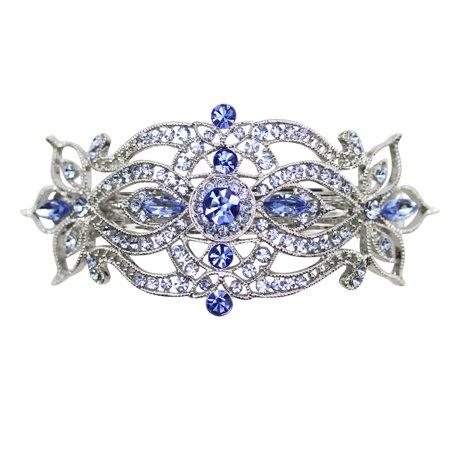 Faship Gorgeous Blue Rhinestone Crystal Big Floral Hair Barrette -