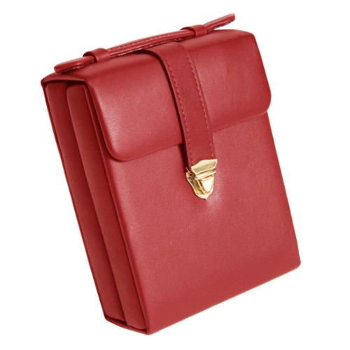 Royce Leather Travel Red Genuine Leather Luxury Suede Lined Jewelry Case