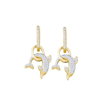 10kt Yellow Gold Womens Round Diamond Dolphin Dangle Earrings 1/3 Cttw Gift for Christmas