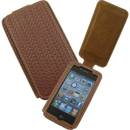 NEW LIMITED LUXURY BROWN LEATHER WEAVE FLIP CASE COVER FOR APPLE iPHONE 4S 4