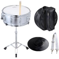 ADM Beginner Snare Drum Student Drum Set with Carry Bag Practice Pad, Stand and Sticks, Silver