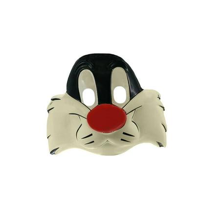 Cat Kids Mask - Licensed Vintage Looney Tunes Sylvester Animal Cat Child Costume Mask Accessory